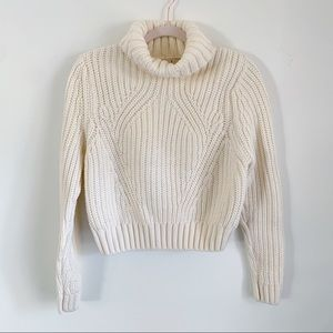 Divided Ivory Chunky Knit Turtleneck Sweater Small